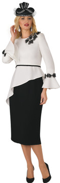 4379 Ravishing Two piece Skirt set French Crepe with Trim Detail