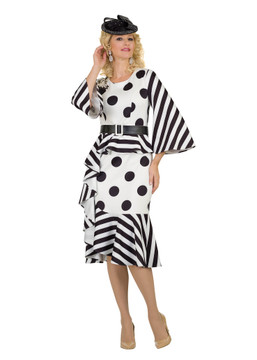 4541 Ponte Knit Classy Polka Dots Dress