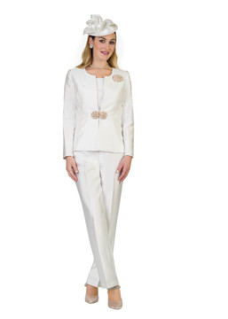 4387 Fabulous Three Piece Silky Twill Pants Suit