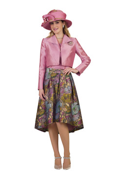 4182 Appealing Three Piece Silky Twill Novelty Skirt Suit