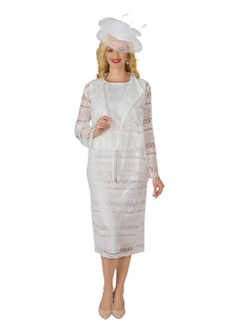 4253 Appealing Three Piece Crinkle Skirt Suit