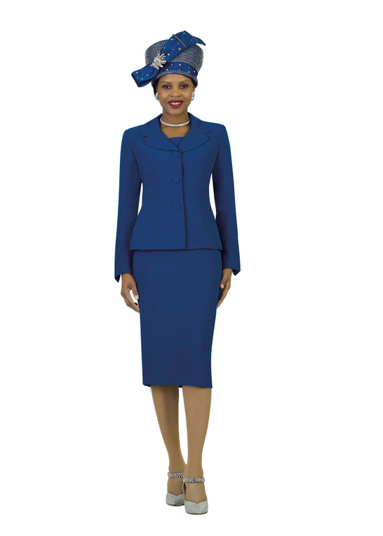 4063 Two PC POLY CREPE SKIRT SUIT By LILY AND TAYLOR