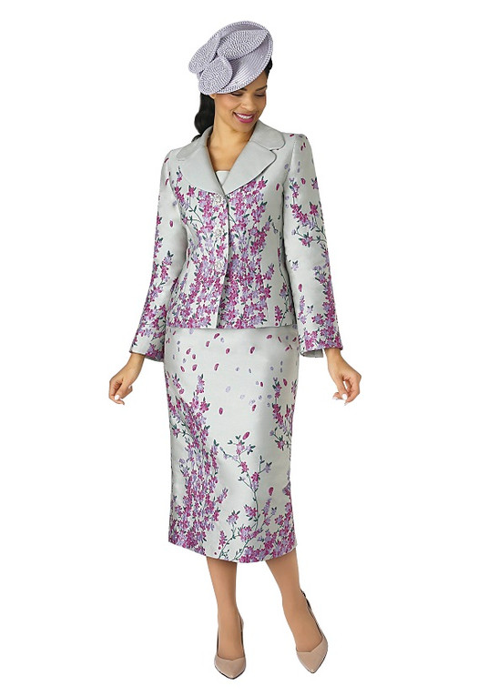 4342-2PC JACQUARD SKIRT SUIT By LILY AND TAYLOR-4342