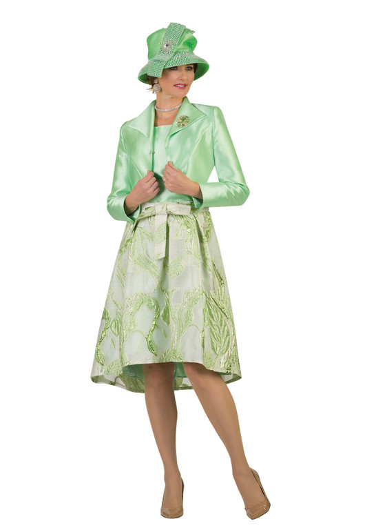 4369-3PC SILKY TWILL/NOVELTY SKIRT SUIT