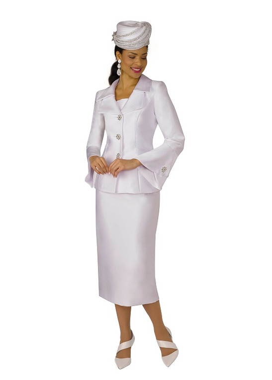 4107-2PC SILKY TWILL SKIRT SUIT