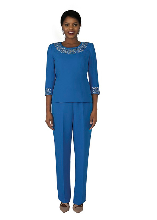4377-2PC FRENCH CREPE PANT SUIT W/RHINESTONES