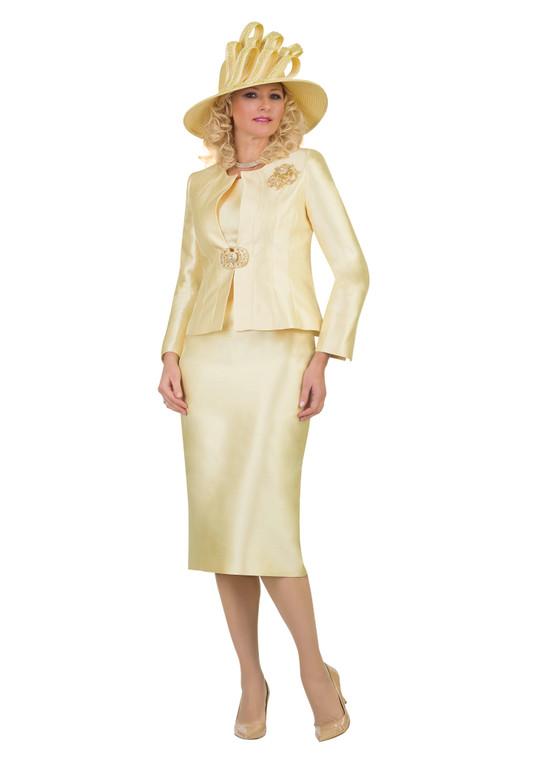 4514 Elegant Three Piece Silky Twill Suit