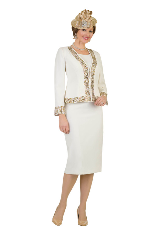 4434 Stunning French Crepe with Rhinestone Three Piece Suit