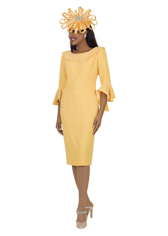4524 Stunning French Crepe Dress with Rhinestones Trim application