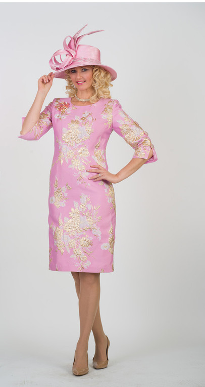 4469 Charming Novelty Dress With Rhinestone button trim