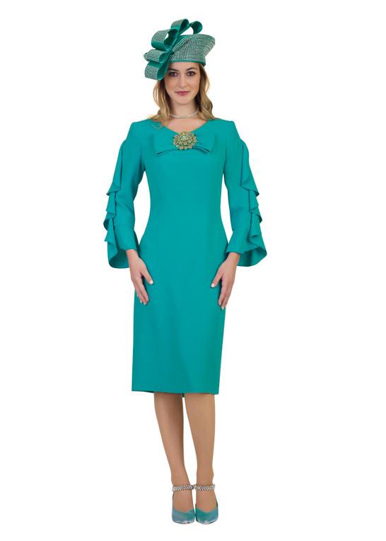 4461 Elegant Flare Sleeve French Crepe Dress