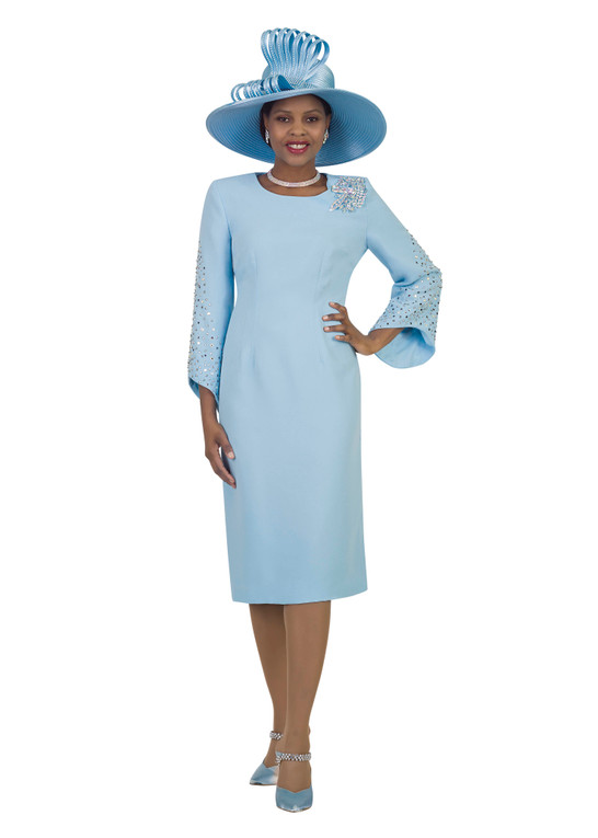 4385 Glamorous French Crepe Dress With Rhinestone trim Sleeve Detail