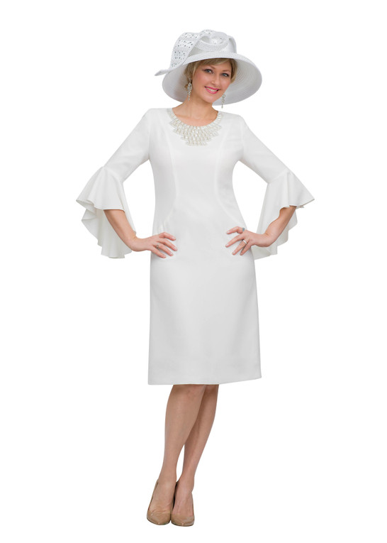 4468 Appealing French crepe dress with necklace Trim