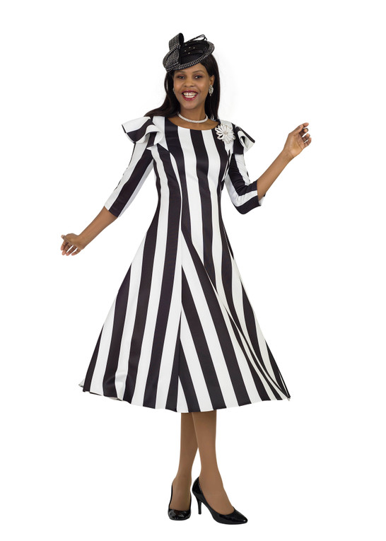 4512 Fabulous Black/Ivory Strip Ponte Knit Dress