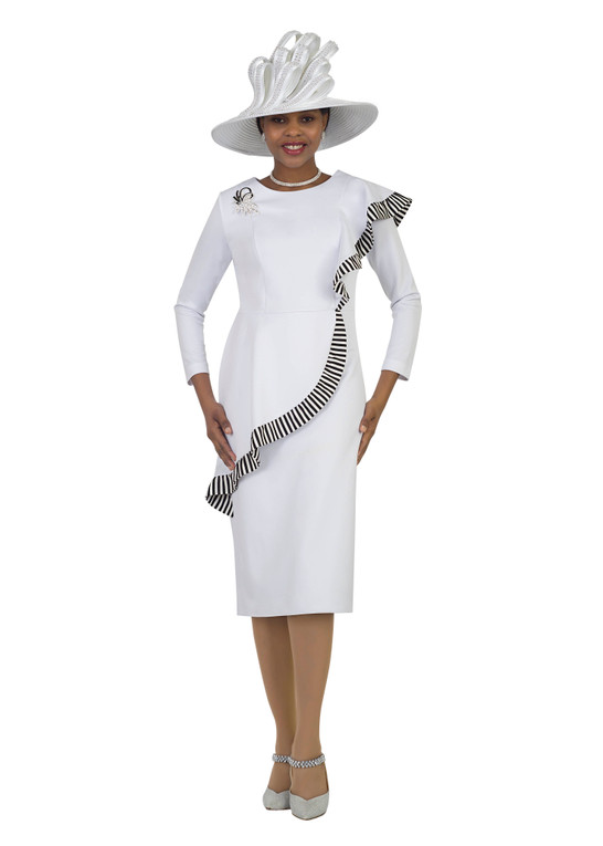 4443 Elegant Ponte Knit Dress with Strip Trim Details design