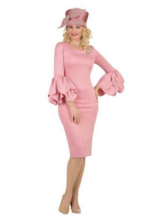 4473 Elegant ponte Knit Dress With Rhinestone Trim On Cuff