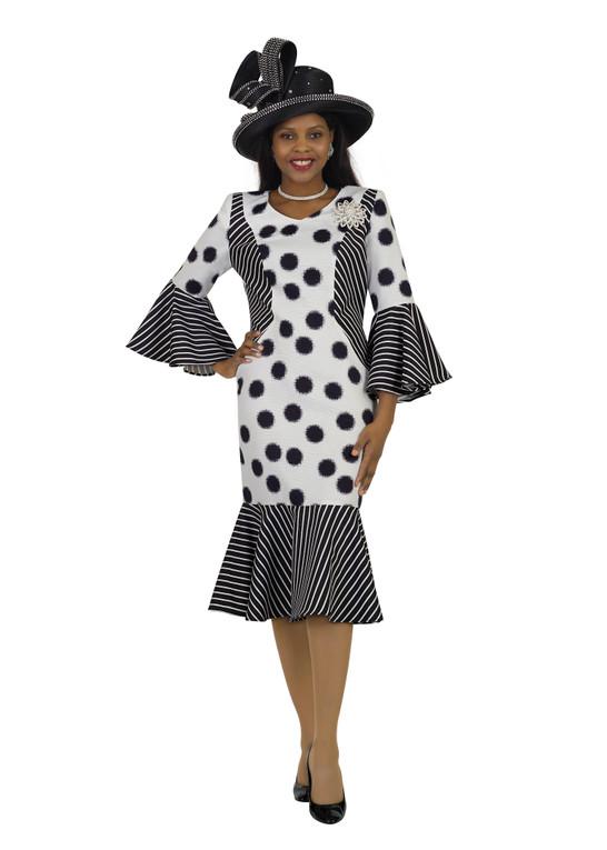 4551 Appealing Ponte Knit Polka dots/ Strip Design dress