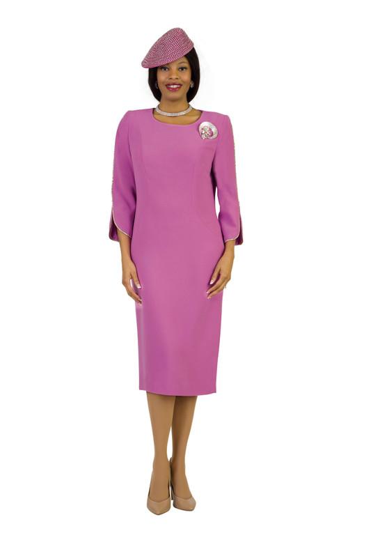 4397 Elegant French Crepe Dress with Rhinestone Trim Around sleeve