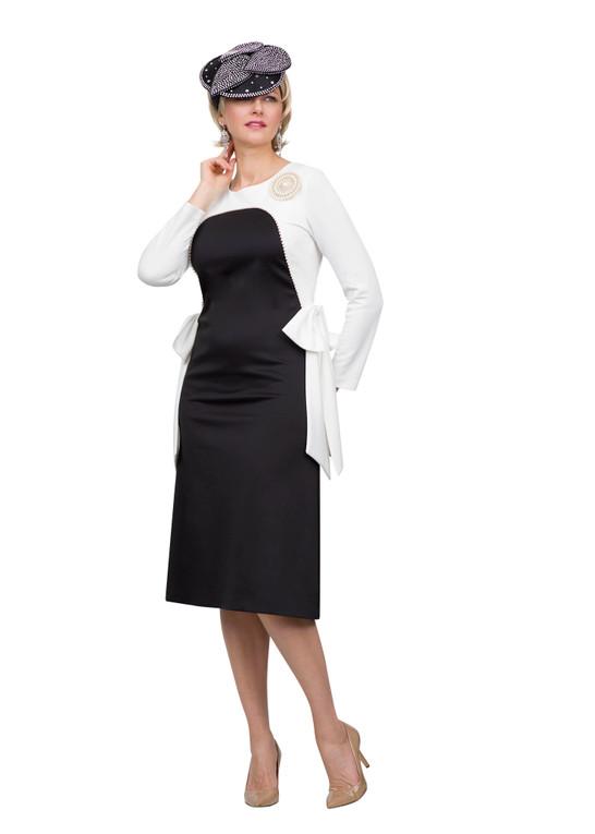 4555 Stunning Ponte Knit Dress with Pearls trim design