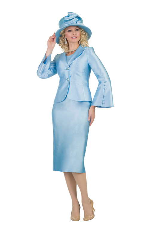4452 Ravishing three piece Skirt Suit with Button Down Design on Sleeve
