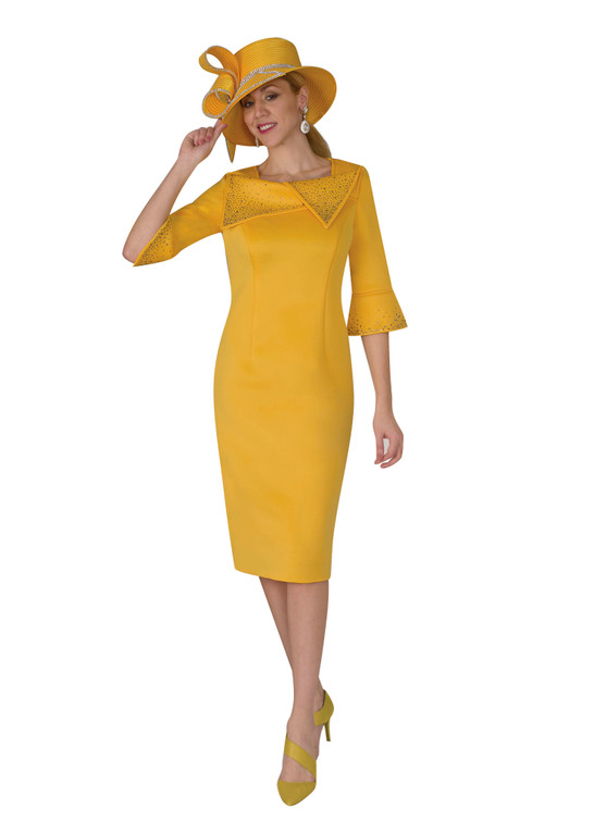 4968 Classy Ponte Dress with Rhinestone Trim on Collar and Cuff