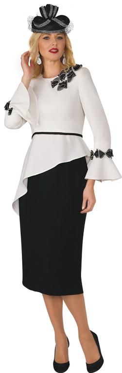 4379 Ravishing Two piece Skirt set French Crepe with Trim Detail