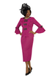 4380 Appealing Novelty Two Piece Skirt Suit With Bow Trim