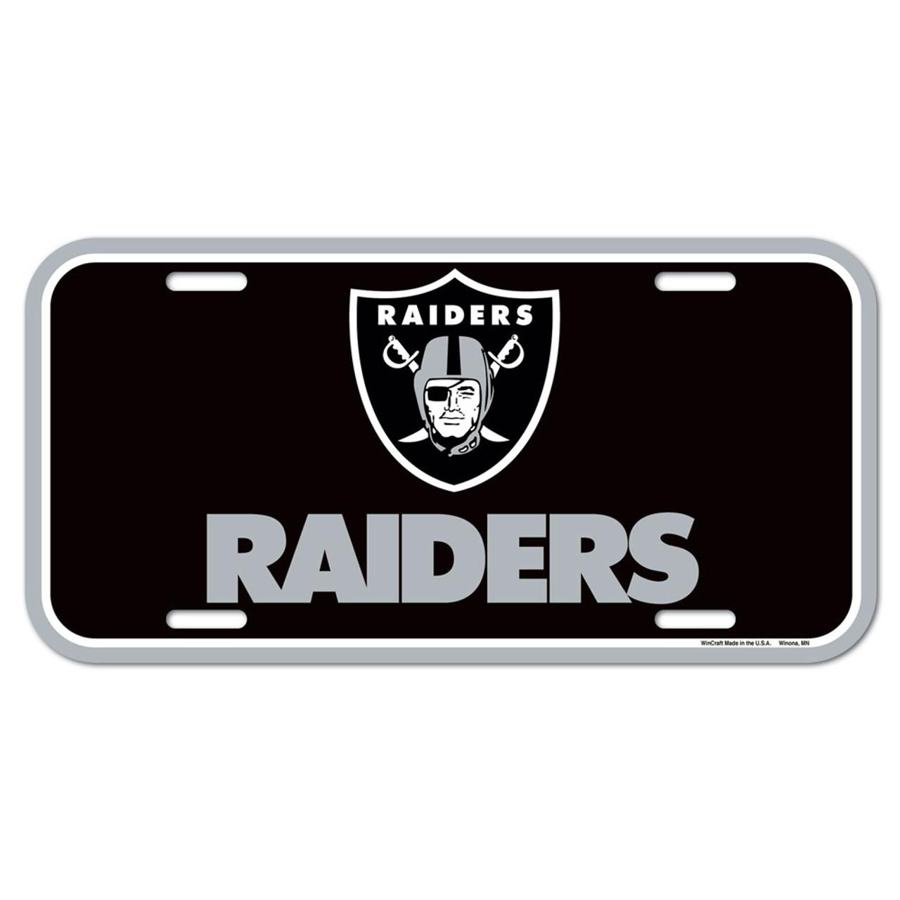 Las Vegas Raiders EZ View All Over Chrome Frame Metal License Plate Tag Cover