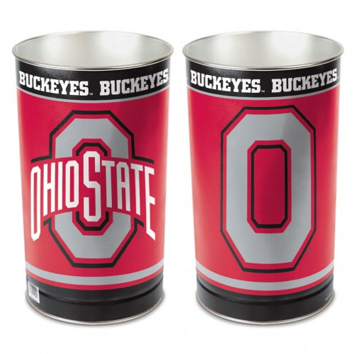 "These high quality metal waste baskets are great for a rec room, child's room, bathroom or anywhere you want to show your team spirit! They are 15"" tall, and about 10"" wide at the top. They have a tapered top, and feature bright colors and great graphics. The graphics are on both sides of the trash can. Made by WinCraft."