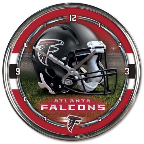 "The NFL 12"" Chrome plated clock is both a retro classic, and a trendy find for a wall clock. Stunning graphics with a metal hands make a great fit in any fan cave, office, bar, or bedroom. Printed and assembled in the US with imported materials. Made By Wincraft, Inc."