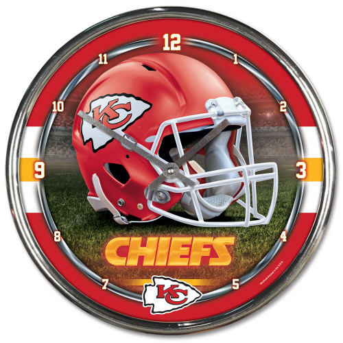 """The NFL 12"""" Chrome plated clock is both a retro classic, and a trendy find for a wall clock. Stunning graphics with a metal hands make a great fit in any fan cave, office, bar, or bedroom. Printed and assembled in the US with imported materials. Made By Wincraft, Inc."""