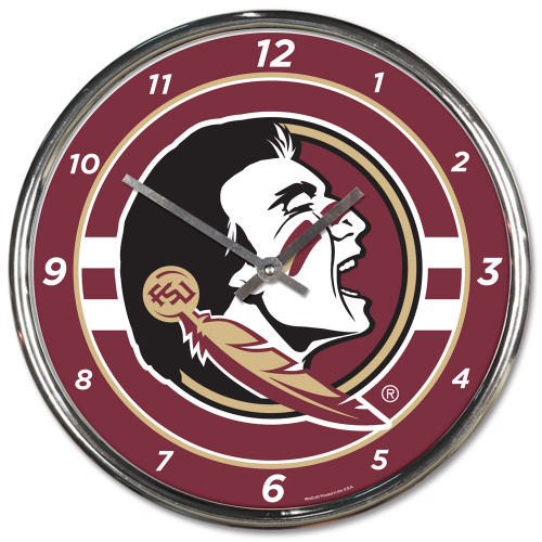 "The 12"" Chrome plated clock is both a retro classic, and a trendy find for a wall clock. Stunning graphics with a metal hands make a great fit in any fan cave, office, bar, or bedroom. Printed and assembled in the US with imported materials. Made By Wincraft, Inc."