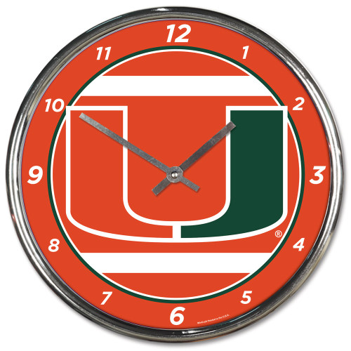 This Chrome plated clock is both a retro classic, and a trendy find for a wall clock. Stunning graphics with a metal hands make a great fit in any fan cave, office, bar, or bedroom. Printed and assembled in the US with imported materials. Measures apporximately 12 inches. Made By Wincraft.