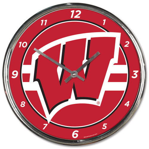 Wisconsin Badgers Clock Round Wall Style Chrome Special Order