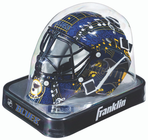 "This collectible miniature goalie mask features an authentic pro-style mask/cage design with molded plastic vented shell with foam liner, a chrome finish ""cat-eye"" welded steel cage, full function adjustable back plate, and an approximate mask size of 5""x4"". The minis have the same graphics as the full size series shown, with the exception of the Franklin/ NHL logo on forehead area (on the mini its located on the mask back plate). Made By Franklin Sports."