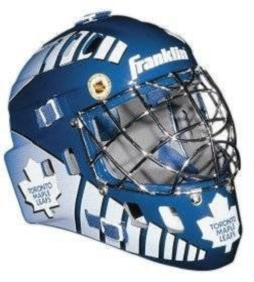 "This collectible miniature goalie mask features an authentic pro-style mask/cage design with molded plastic vented shell with foam liner, a chrome finish ""cat-eye"" welded steel cage, full function adjustable back plate, and an approximate mask size of 5""x4"". The minis have the same graphics as the full size series shown, with the exception of the Franklin/ NHL logo on forehead area (on the mini its located on the mask back plate). Made By Franklin Sports"