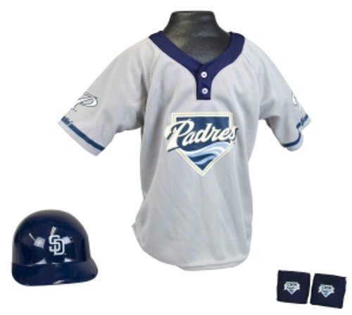Your little baseball fan will love this helmet and jersey set! The set includes a team batting helmet with adjustable liner, team jersey and team wrist bands. One size fits all, ages 5-9. Made By Franklin Sports