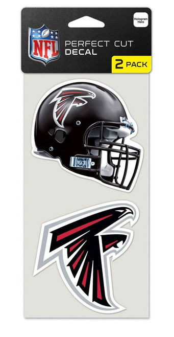 """A set of two licensed Die Cut decals are made of outdoor vinyl, permanent adhesive, image cut to the outside dimension of logo, full color detail is printed with a 3 year outdoor rating. Supplied with a clear liner, clear transfer tape, and application instructions. Each decal is 4"""" in size. Made in USA. Made By Wincraft, Inc."""