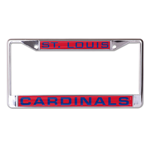 """Metal License Plate Frame is decorated with inlaid laser cut color acrylic and mirror. The cast zinc frame is chrome plated zinc alloy with two mounting holes on the top of the frame. This plate frame is perfect for the front of your car since the large imprint area may cover up your tabs on your back plate, please check your local laws. Standard 6""""x12"""" size. Made by Wincraft"""