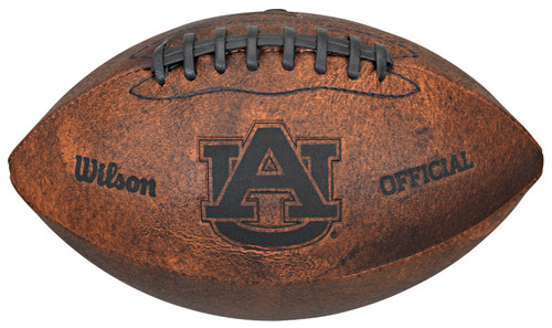 This NCAA Officially Licensed 9 inch Throwback Football is made of composite leather and features composite leather stitching and laser stamped NCAA team logo. Football holds two to four pounds of air and its sturdy construction helps hold its shape. Distressed brown color and black stitching help this football stand out. Can be used for decoration or to toss around. Made by Gulf Coast Sales.