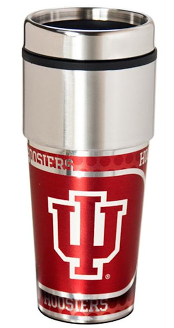 This 16oz travel tumbler features a brilliant 360 degree metallic wrap. It also has a spill-resistant press-on lid, and fits in virtually any vehicle cup holder. Made By Great American Products