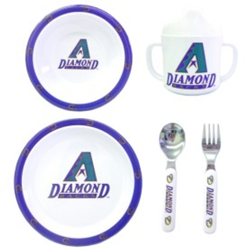 Your little sports fan will go wild for these dinner sets. The place setting is made of a durable plastic. Each set comes with a cup, plate, bowl, fork and spoon. They are all dishwasher safe. Made by Duck House Sports.