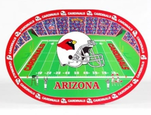 Show your team spirit with these colorful NFL placemats! These heavy-duty vinyl placemats are easy to use and easy to clean. Great for everyday use and special occasions. Each placemat is 11.5 inches by 17 inches in size. Each set includes 4 placemats. Made by Duck House Sports.