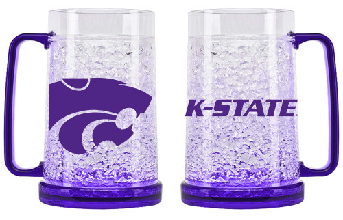 The latest, greatest and coldest!  It's easy to enjoy a thirst quenching frosty beverage with this mug!  This handsome 16 ounce mug combines state-of-the-art refreezability with a color coordinated handle and base.  Features eye catching crystals between the outer and inner layer. Made by Duck House Sports.