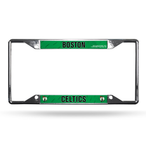 Heavy-duty chrome frame features your the team name and logo in raised letters and vibrant team colors, with pre-drilled holes for easy mounting on any vehicle. Made by Rico Industries.