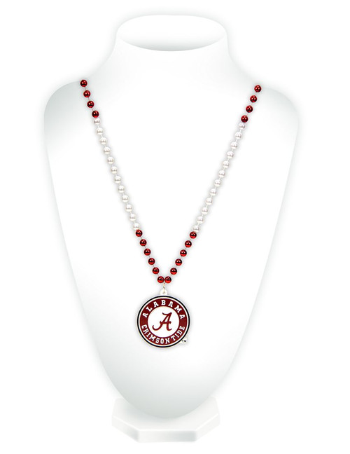 "Celebrate your favorite team with this classic Mardi Gras style beaded necklace! It features beads in two team colors and a heavy duty team logo shaped medallion. The medallion is approximately 3"" in size, and the necklace is 24"" in length. Made By Rico Industries"