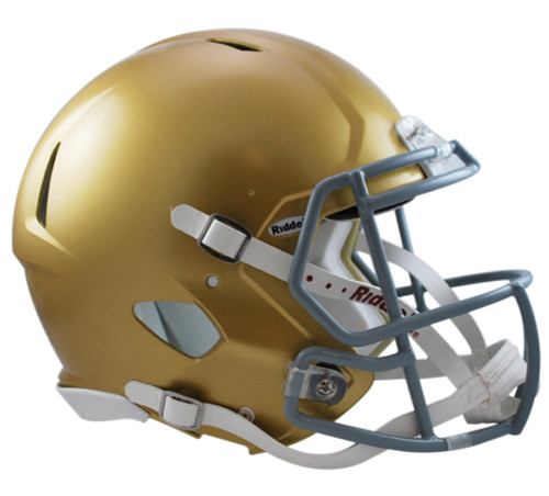 Riddell's Speed helmet continues to be the choice of elite athletes on fields everywhere. This premier collectible comes complete in a size large shell, a running back / quarterback style facemask, internal padding reflective of the Speed Classic design, and a 4-point chinstrap. Official team colors and decals. Great for autographs. Approximately 10 inches tall. Made by Riddell