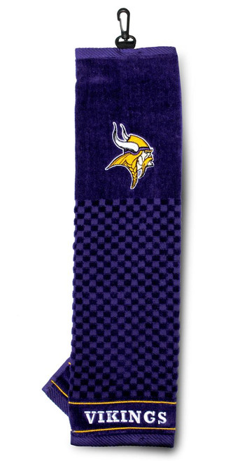 """Embroidered 16"""" x 22"""" tri-fold embroidered golf towel, with hook and grommet. Made By Team Golf"""