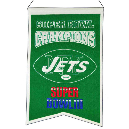 """These uniquely shaped vertical banners chronicle the evolution of select NFL team logos or mascots through the years. Each logo is identified with a circa date connecting each to a specific time period. Each banner is constructed with applique and embroidery detail on a heavy wool blend fabric, providing a vintage feel and look. Each banner measures 14"""" wide x 22"""" long and includes a hanging cord for easy display. Made By Winning Streak Sports"""