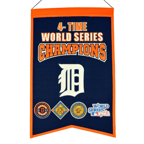 This uniquely shaped banner commemorates your team or school that has achieved the ultimate level of glory by being crowned a champion and showcases the timeless logos that honor each individual achievement. Made by Winning Streak Sports.